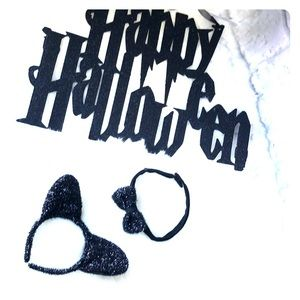 Black cat ears & choker necklace sparkly Halloween